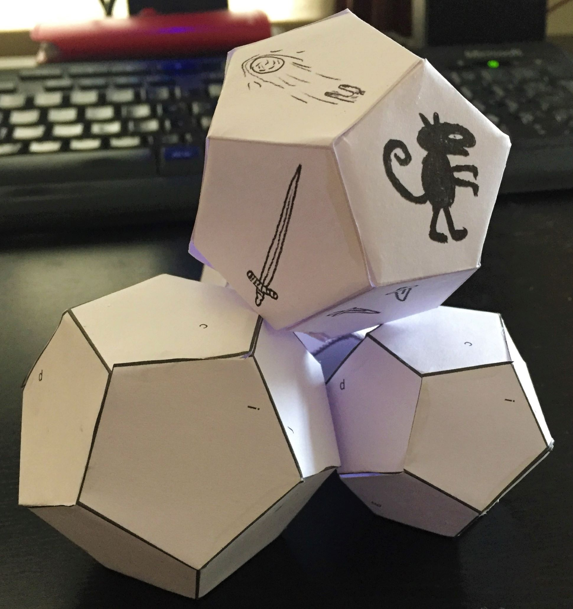 A stack of paper d12s